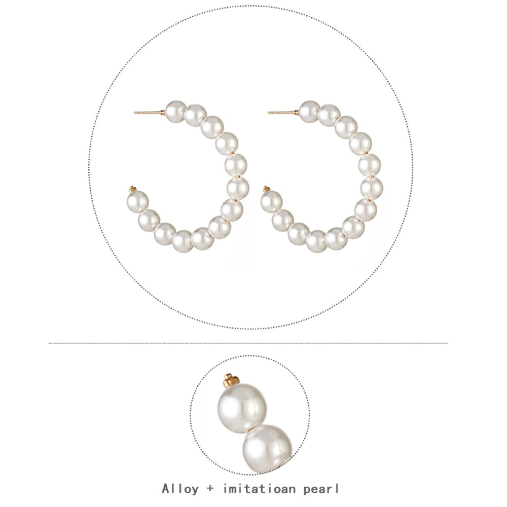 HTB1bDTwU4naK1RjSZFBq6AW7VXaf - New Boho White Imitation Pearl Round Circle Hoop Earrings Women Gold Color Big Earings Korean Jewelry Brincos Statement Earrings