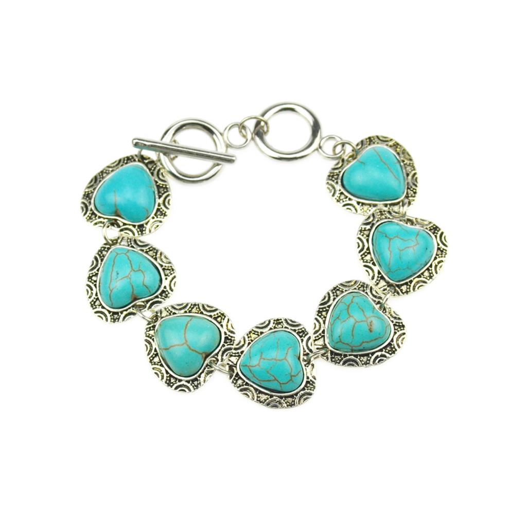 2017 Hot Sale Vintage Turquoise Beads Fashion Bracelets for Women Heart Shaped Friendship Bracelets Fine Jewelry