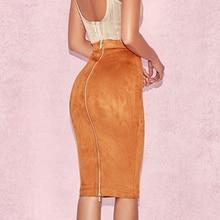 ec6c0fc3d05 NewAsia Garden New High Elasticity Suede Skirts Womens High Waist Pencil Skirt  Winter Saia Midi Skirt Autumn ...