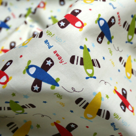 1 meter width cartoon airplane printed cotton fabric for Upholstery fabric for baby nursery