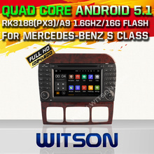 WITSON Android 5.1 CAR DVD GPS for MERCEDES-BENZ S-CLASS W220 Capacitive touch screen Qual-core 16GB Rom car stereo car aduio