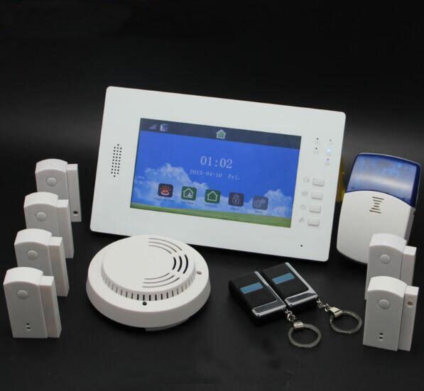 Touch TFT farbe display drahtlose GSM SMS Pstn Hause Einbrecher Alarmanlage IOS und Android APP gesteuert