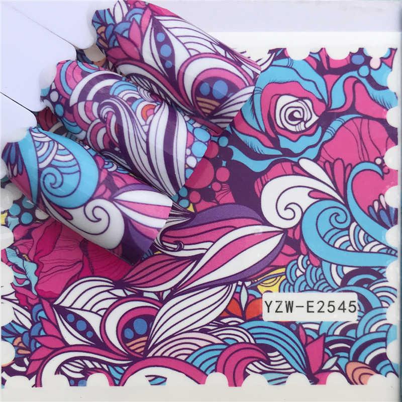 Wuf Stiker Kuku Air Decals Butterfly Floral Hewan Hitam Putih Geometri Slider Manikur Kuku Seni Dekorasi