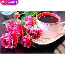 MomoArt 5D Diamond Painting Coffee Embridery Full Square Rhinestone Mosaic Scenic Art