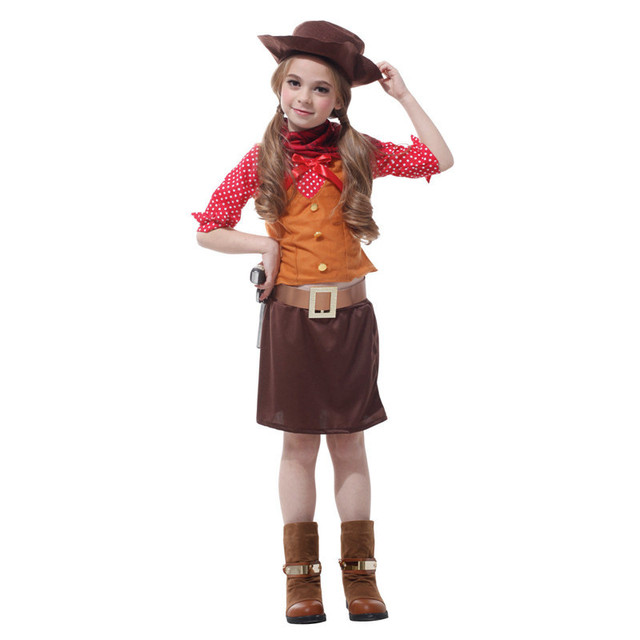 3f30fab32 High Quality Brand Girl Cowboy Costume Halloween Costume For Children Kids  4 to 10 Years Old West Cowboy Cosplay Costume. Anniversary Sale