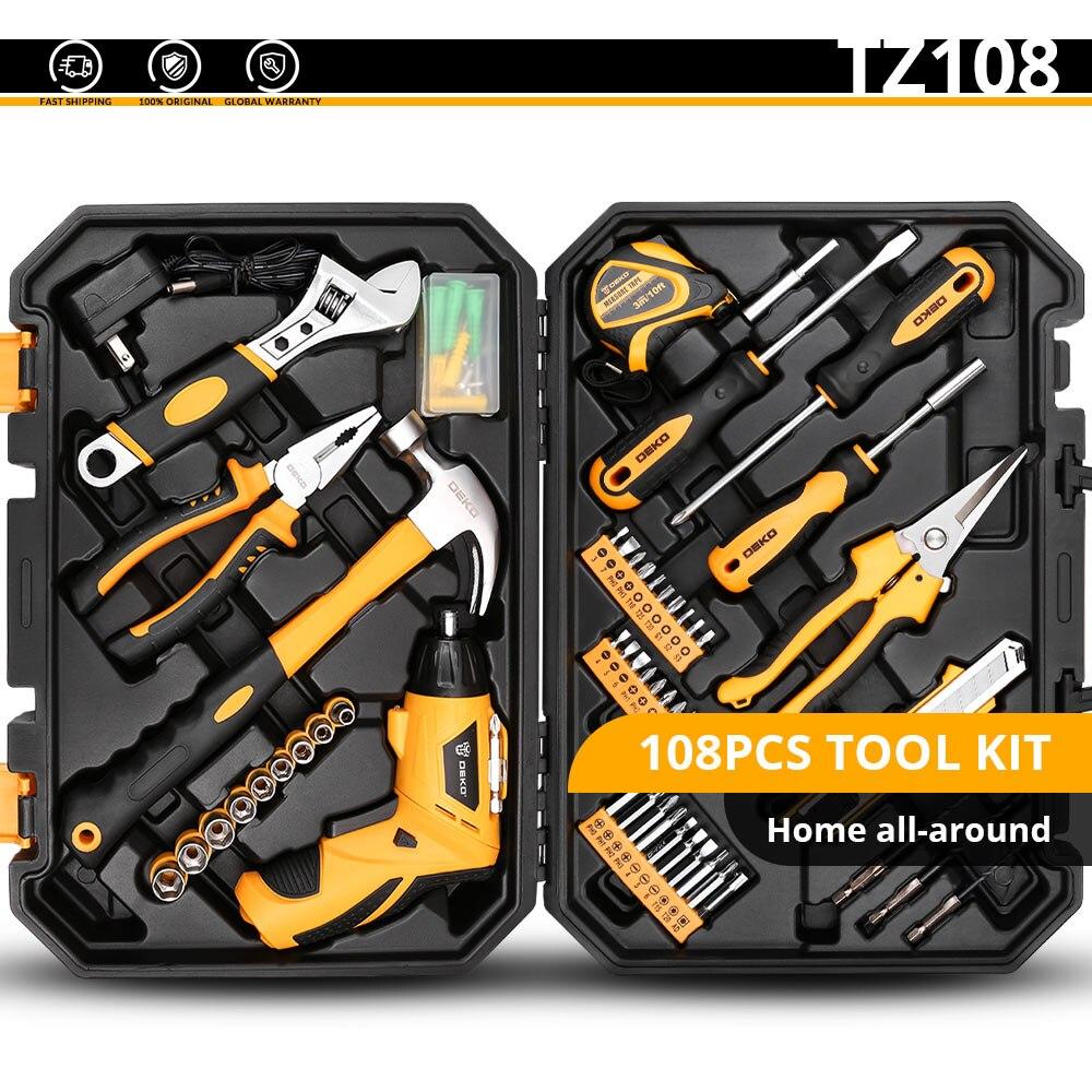 DEKO набор ручных инструментов для домашнего ремонта, набор ручных инструментов с пластиковым ящиком для инструментов, чехол для хранения плоскогубцев, торцевой ключ, пила, отвертка, нож - Цвет: TZ108
