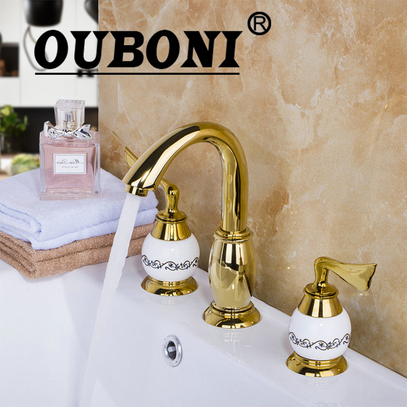 OUBONI Luxury Golden Plated Bathroom Faucet set Deck Mounted 3PCS Set Bathtub European Split Basin Mixer Tap ceramic Faucet Body наушники sony mdr xb550ap white