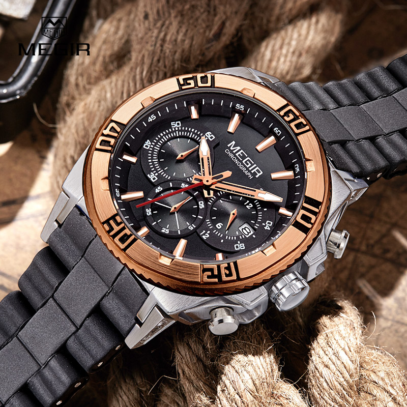 MEGIR Men Watches Top Brand Luxury Steel Silicone Band Waterproof Chronograp Black Gold Quartz-watch Sport Men's Wrist watches стоимость