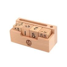 Горячая креативные DIY деревянные зерна календарь деревянный календарь Детские обучающие игрушки для детей Подарки