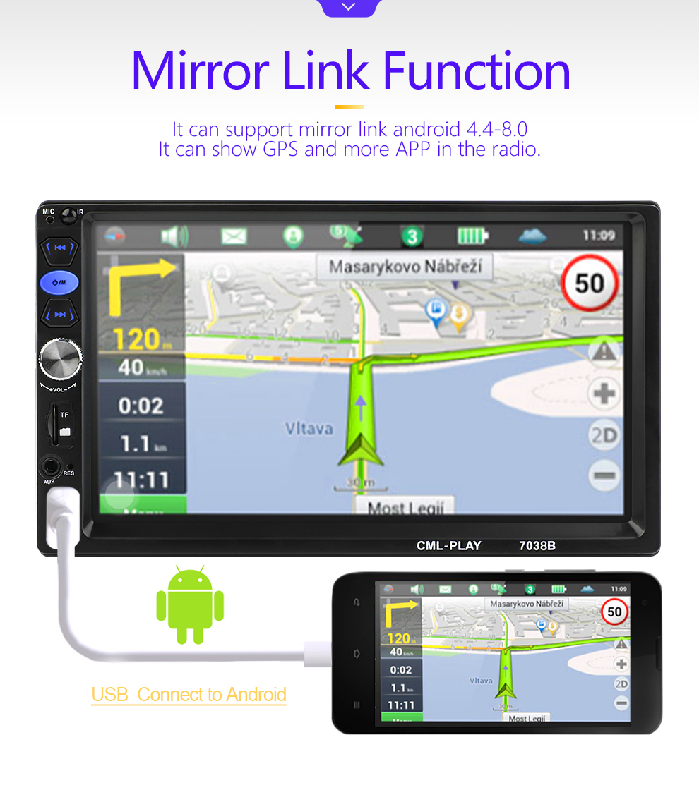 """Image 4 - 2 din car radio mirror link Android 9.0 Touch Screen Digital Display 7"""" HD Player MP5 Bluetooth Multimedia USB 2din Autoradio-in Car Radios from Automobiles & Motorcycles"""