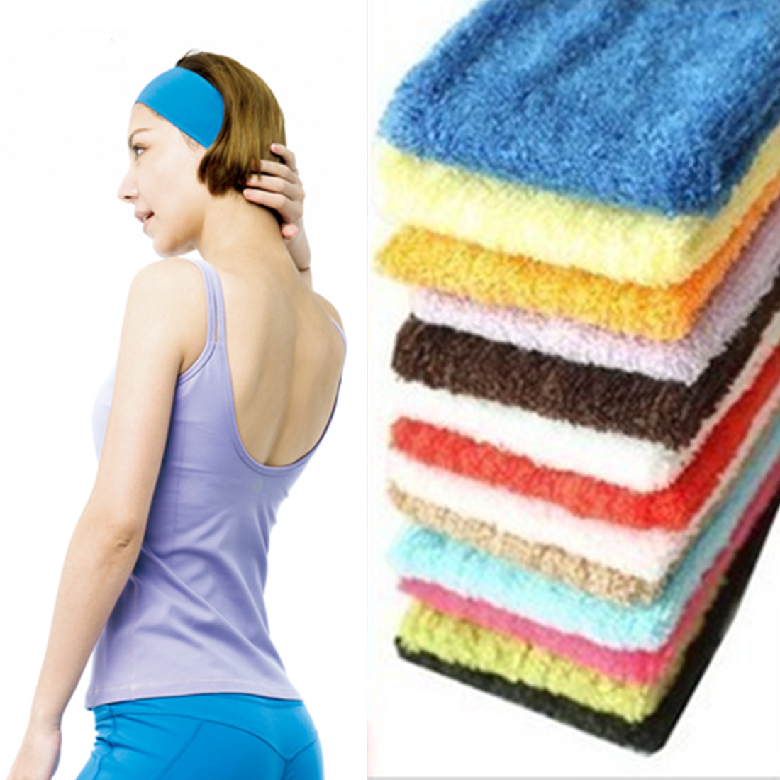 Brand New Sports Gym Yoga Stretch Headband Head Band Hair Band Sweat Sweatband Mens Women yoga accessories ...