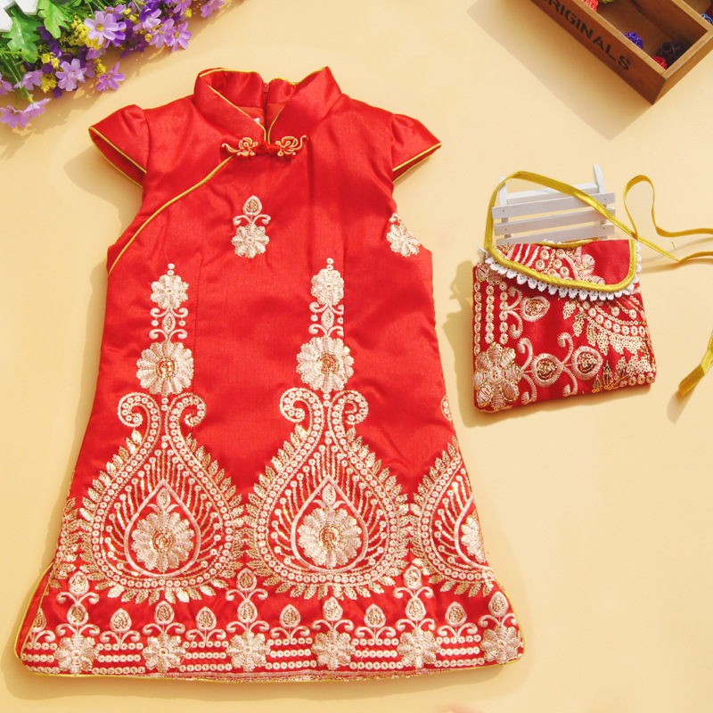 Bag as gift! Traditional Chinese style Qipao Cheongsam Costume party dress quilted vest princess beautiful dress kids clothing free shipping new red hot chinese style costume baby kid child girl cheongsam dress qipao ball gown princess girl veil dress