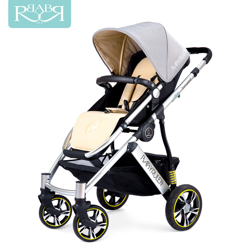 Babyruler <font><b>Baby</b></font> Stroller <font><b>3</b></font> <font><b>in</b></font> <font><b>1</b></font> High Landscape Aluminum Luxury Folding <font><b>Baby</b></font> Carriage <font><b>Pram</b></font> for Newborn Kinderwagen bebek arabasi image