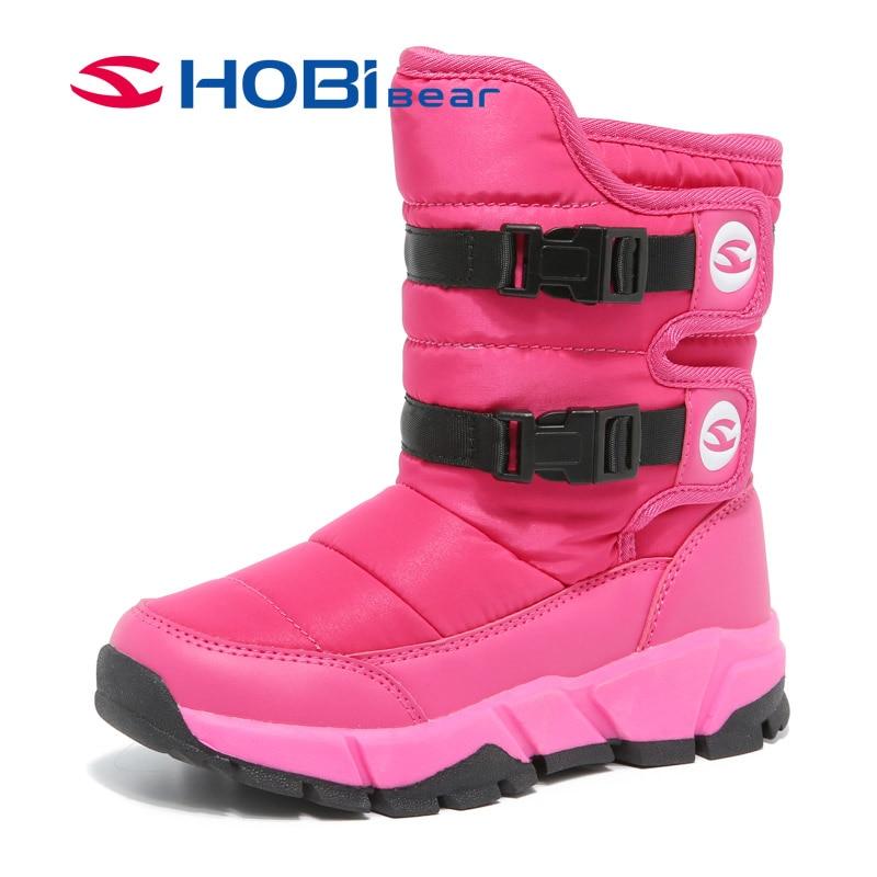 HOBIBEAR Winter Snow Boots for Girls Skórzane buty dziecięce Warm - Obuwie dziecięce - Zdjęcie 1
