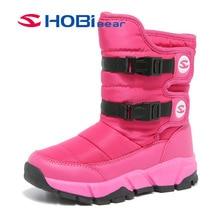 HOBIBEAR Vinter Snow Boots för Flickor Läder Barnskor Varm Plush Vattentät Antiskid Girl Mid-Calf Kids Boots Skor