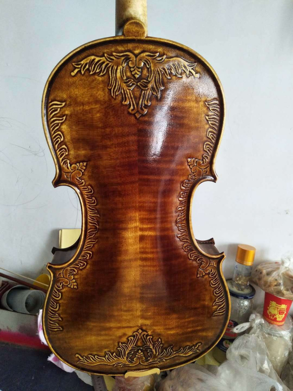 4/4 Violin Excellent Handcarved European Flamed Maple Back Spruce Top NO4 Violin