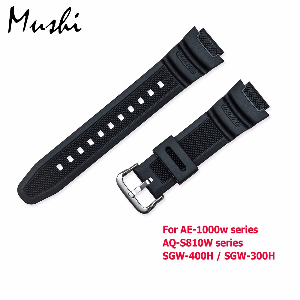 Rubber Strap for Casio AE-1000w AQ-S810W SGW-400H / SGW-300H Silicone Watchband Pin Buckle Strap Watch Wrist Bracelet Black+Tool часы casio collection sgw 300h 1a black