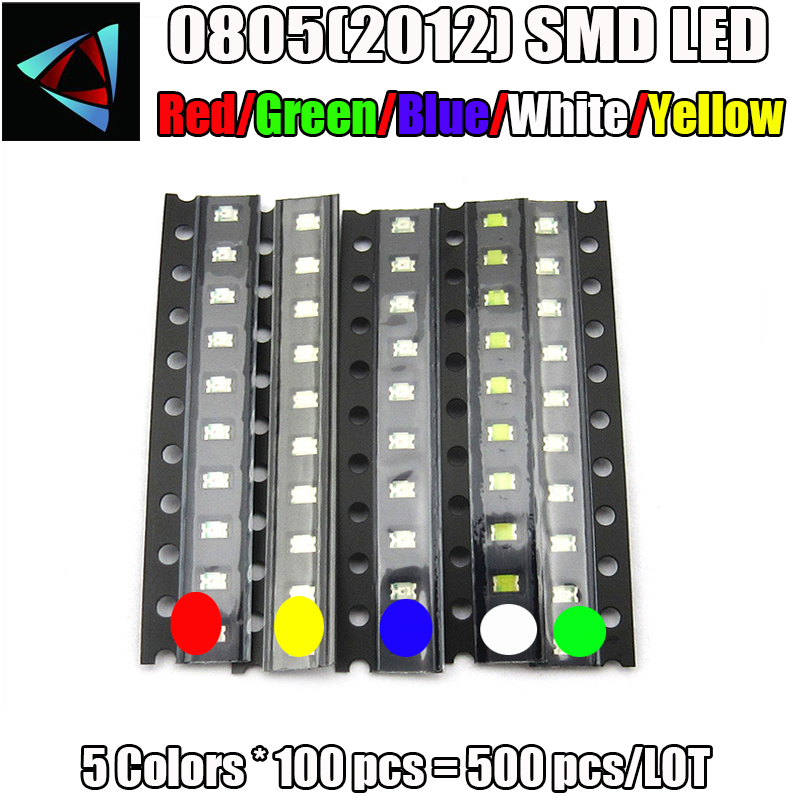500pcs 0805 Ultra Bright SMD LED Light Emitting Diode 5 Colors