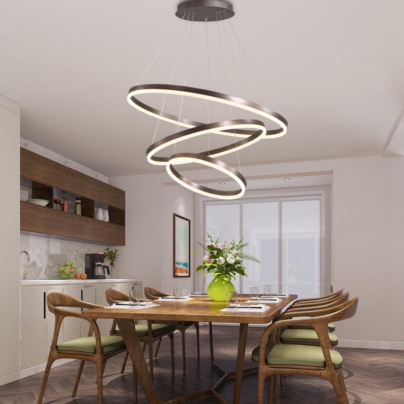 Pierścień LED Retmoe controller Chandeleirs do salonu sypialnia kuchnia wyspa żyrandol dekoracja wnętrz lustre lampa wisząca|Wiszące lampki|   -