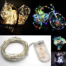 2M 20LEDs Copper Wire LED String light Holiday lighting Fairy Garland For Christmas Tree New Year Wedding Party Decoration cheap Strip ROHS Colorful 50000 Hrs Dry Battery garden Round 2-wire Epistar 2 88W m LED Silver Wire String Lights ERANPO Switch