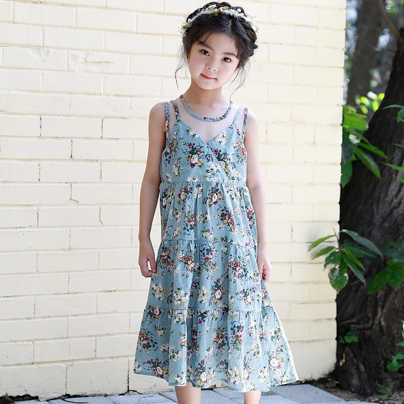 2018 Bohemian Style Beach Dress Kids Girls Summer Cothing Teenager Girls Print Sundress Children Kids Girls Party Princess Dress цены онлайн