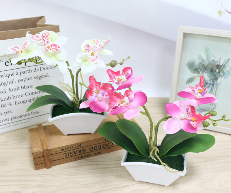 small artificial butterfly orchid flower set with real touch leaves artificial plants overall floral for wedding (5)