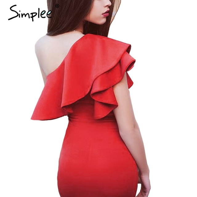 Simplee Autumn sexy ruffles black women short dress One shoulder white bodycon dress Sleeveless party vestidos winter dress