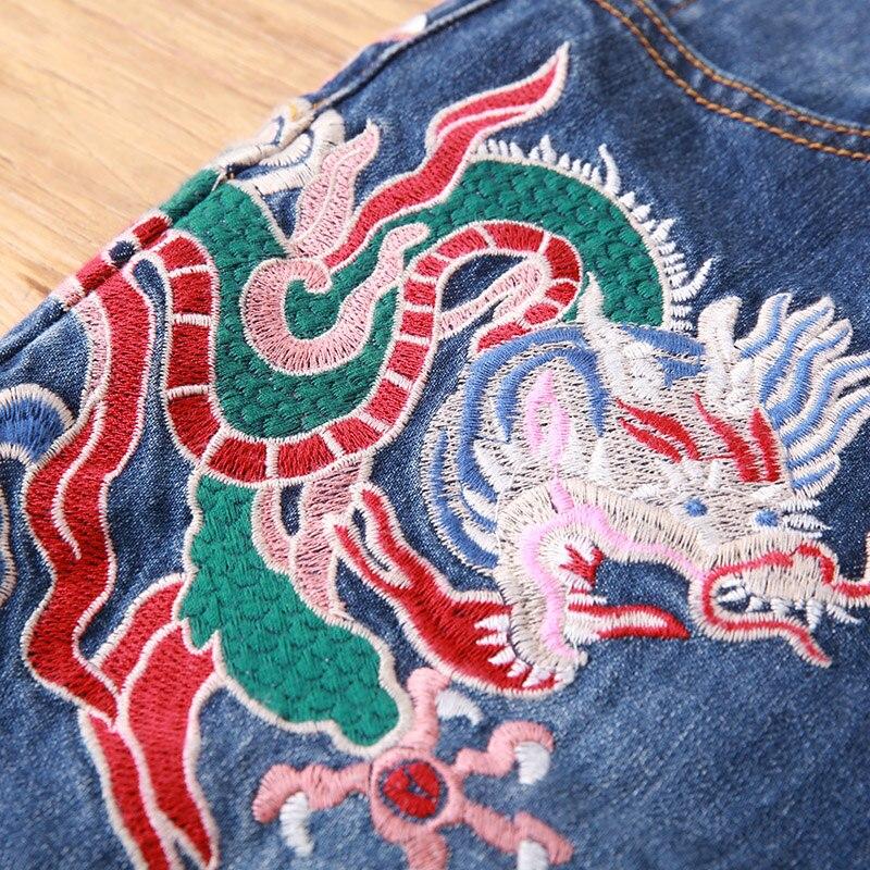 Weibliche Stickerei frauen Königliche Stil Schöne High Hosen Drachen S Herbst Vintage end Floral Dünne Jeans Chinesischen 3xl Dame pZqHSvn