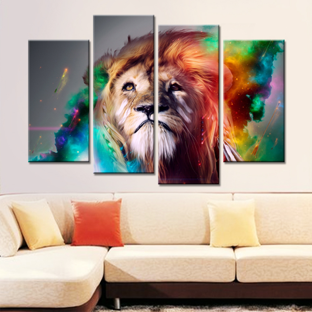 Lion King Painting Wall Pictures for Living Room 4 Pieces Animal Wall - Home Decor