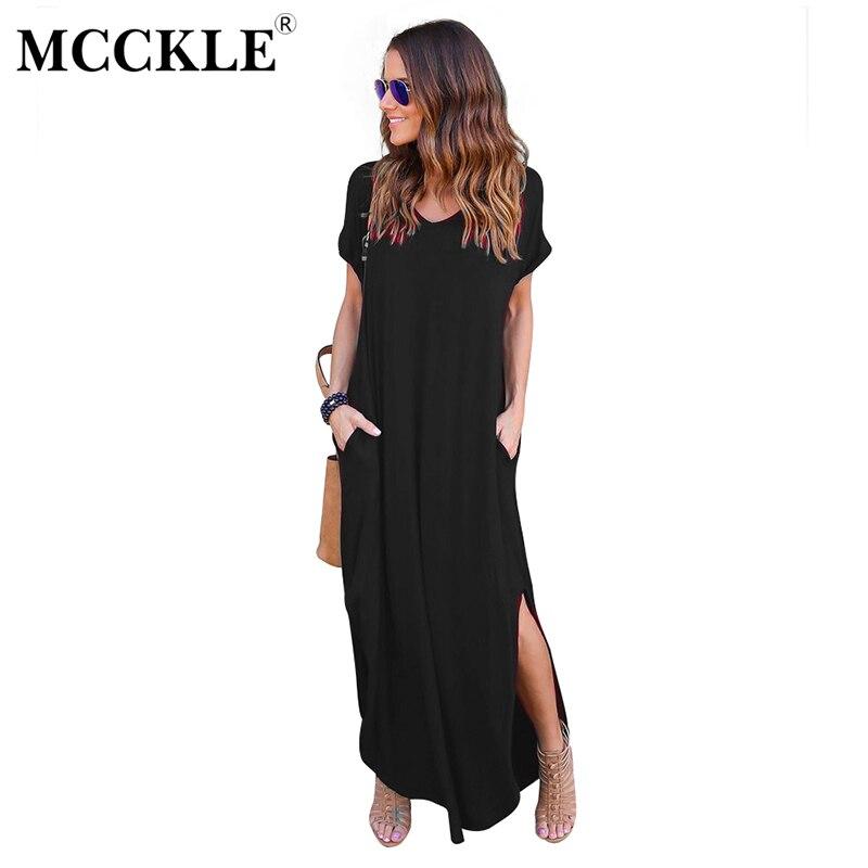 MCCKLE Women's Solid Causal Long Maxi Dress Split Front Pockets Dresses 2017 Autumn Cotton Short Sleeve Feminine Vestdios