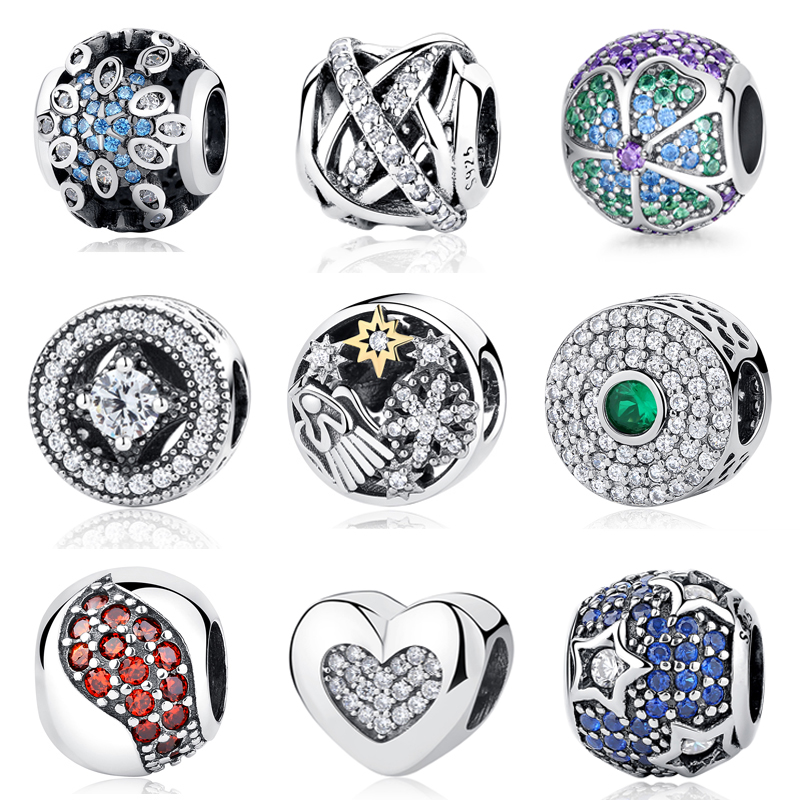 46615c647 2018 Original 925 Sterling Silver Bead Charm Full Crystal CZ Pave Charms  Fit Pandora Bracelets Women DIY Jewelry Making-in Beads from Jewelry &  Accessories ...