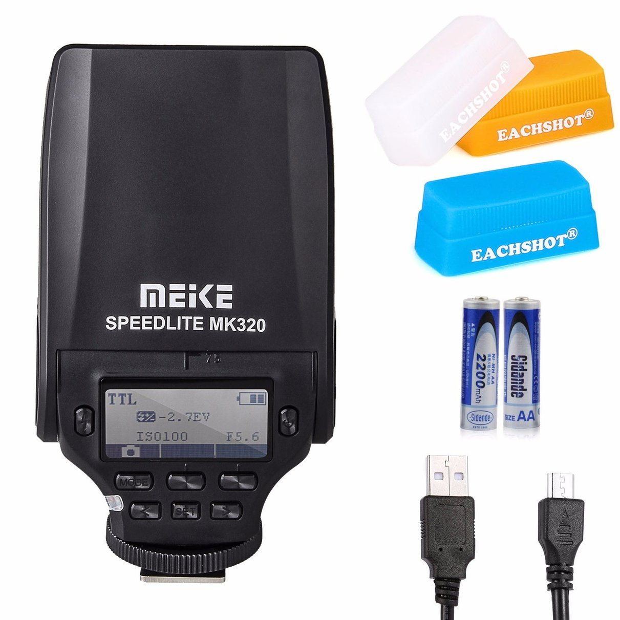 MEIKE MK-320 TTL Flash Speedlite for Olympus  With EACHSHOT Micro USB + 2PCS AA Battery + 3PCS Silicone Diffuser mini flash light meike mk320 mk 320 mk320 c gn32 ettl speedlite for can 60d 7d 6d 70d dslr