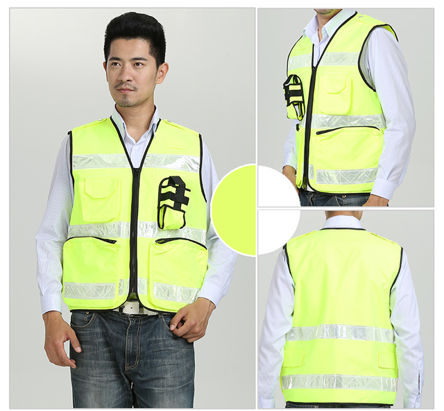 Reflective Vest Waterproof High Visibility Safety Clothing Multi pockets Fluorescent Yellow Clothes Waistcoat Outdoor Workwear 3