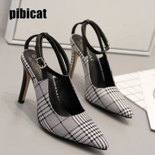 checkered shoes heels sandals women's office shoes high heels Stilettos closed toe sandals heels pointed shoes Buckle Strap Shoe цены онлайн