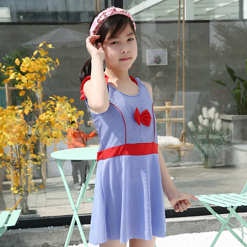 e9263e8146 Girl's Swimsuits For Teenagers One Piece Short Dress Striped Swimwear  Bathing suits Beach Wear Teenager Children kinder badpak-in Children's One-Piece  Suits ...