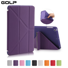 GOLP Case for iPad Mini 1 2 3 Slim PU Leather Folding Folio Case Shell Soft TPU Back Protective Smart Cover for iPad Mini 1 2 3(China)
