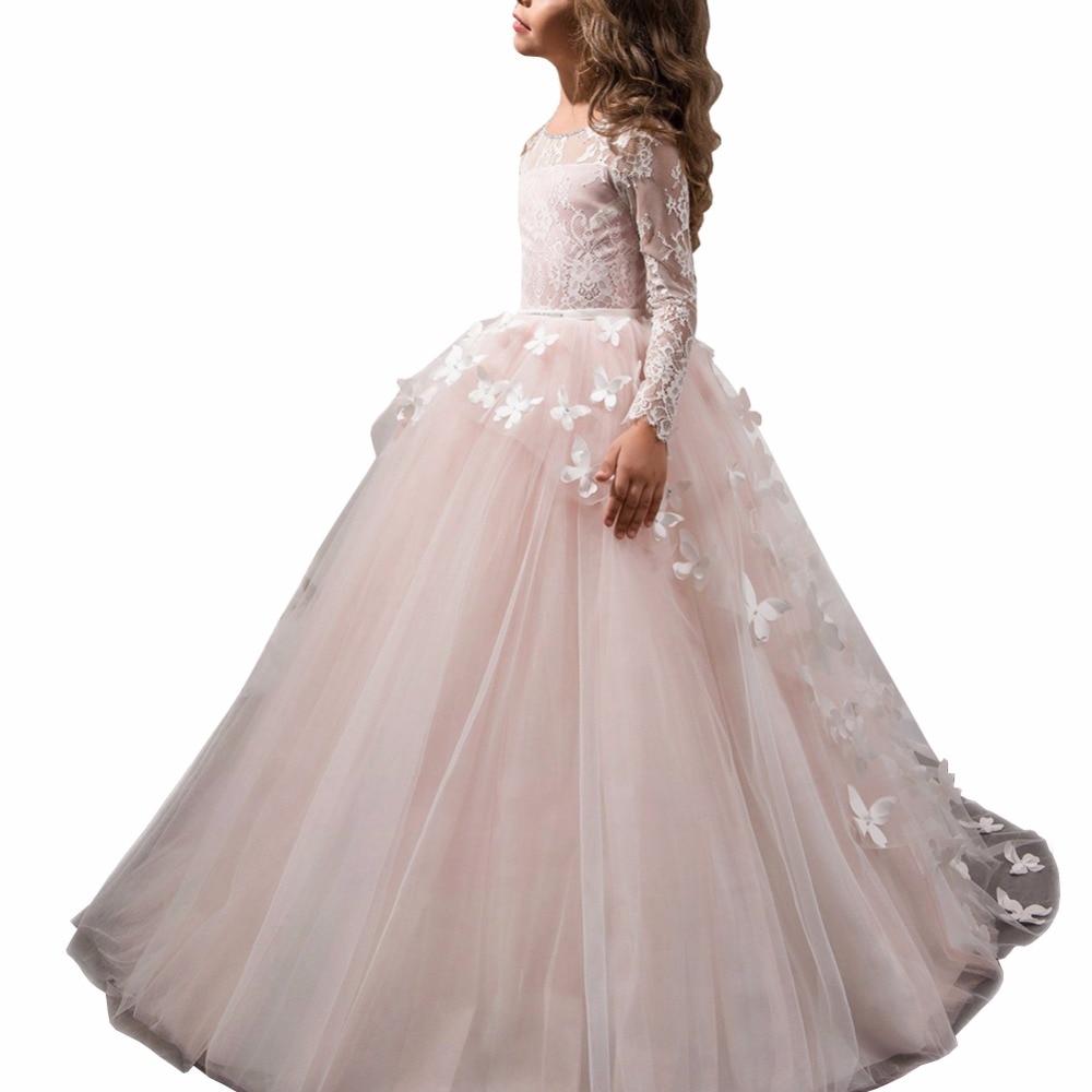 ZYLLGF filles Communions Robes de bal o-cou dentelle manches longues fleur fille Robes avec papillon FP28