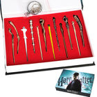 12 pcs/set Mini Harry Potter Cosplay Weapon Metal toy Harry Potter Magical Wand Stick necklace/keychain Gifts Box Packing