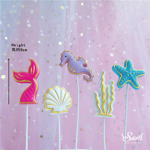 Image 4 - Ins Crown Mermaid Decorations Laser Blue Fishtail Cake Topper  for Childrens Day Party Supplies Birthday Dessert Cute Gift