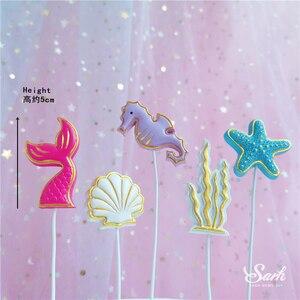 Image 4 - Ins 크라운 인어 장식 레이저 블루 Fishtail 케이크 토퍼 어린이 날 파티 용품 생일 디저트 귀여운 선물