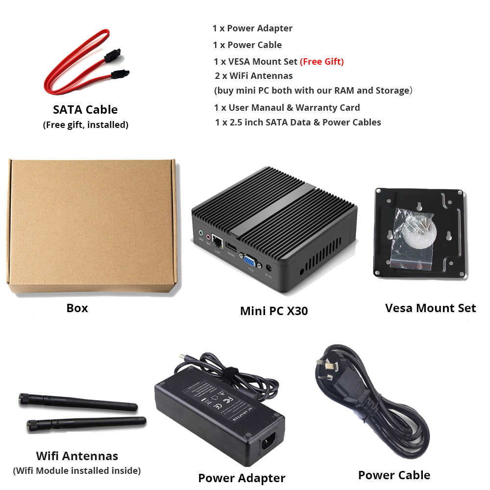 XCY Fanless Mini PC with Intel Core i3 4010Y i5 4210Y i7 4610Y for Windows and Linux OS 4