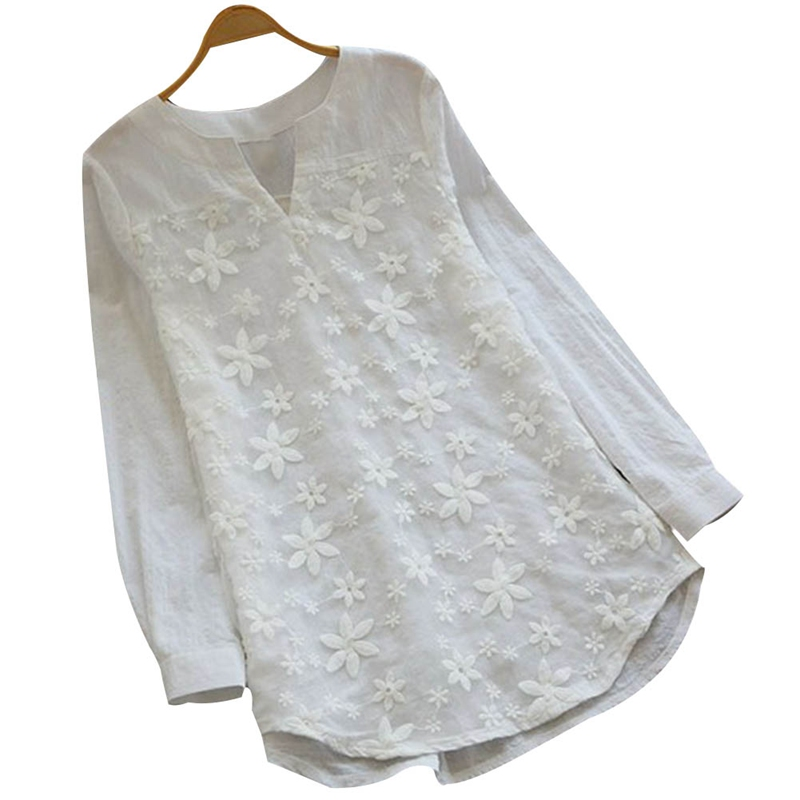 High Quality Blusas White Embroidered Flower Blouse Loose Women Three Quarter Sleeve Casual Sweet Summer Lace Shirt