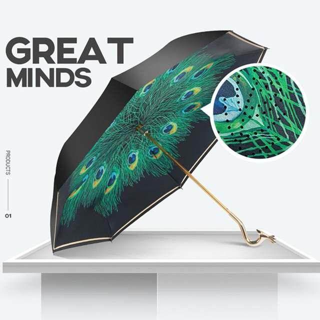 927c5278422c Elegant Peacock Reverse Umbrella For Women Long-handle Black Coating  Umbrella Parapluie Inverse Windproof Parapluie Pliant Men