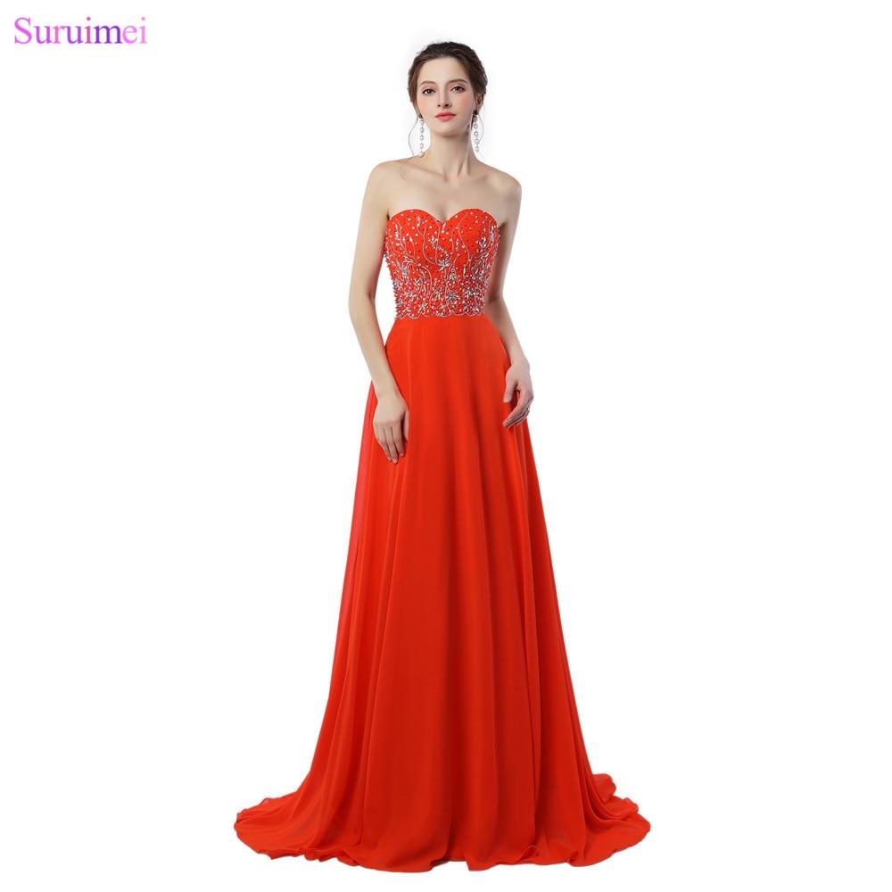 Dark Orange Evening Dresses Chiffon Floor Length Sweetheart Beaded Graceful Long Evening Gown Free Shipping On Sale