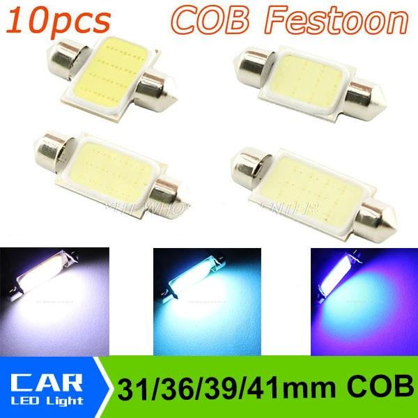 10PCS/lot 31mm 36mm 39mm 41mm Dome Festoon COB LED 12smd leds Car Reading Lamp Light Crystal Blue White Lights DC 12V