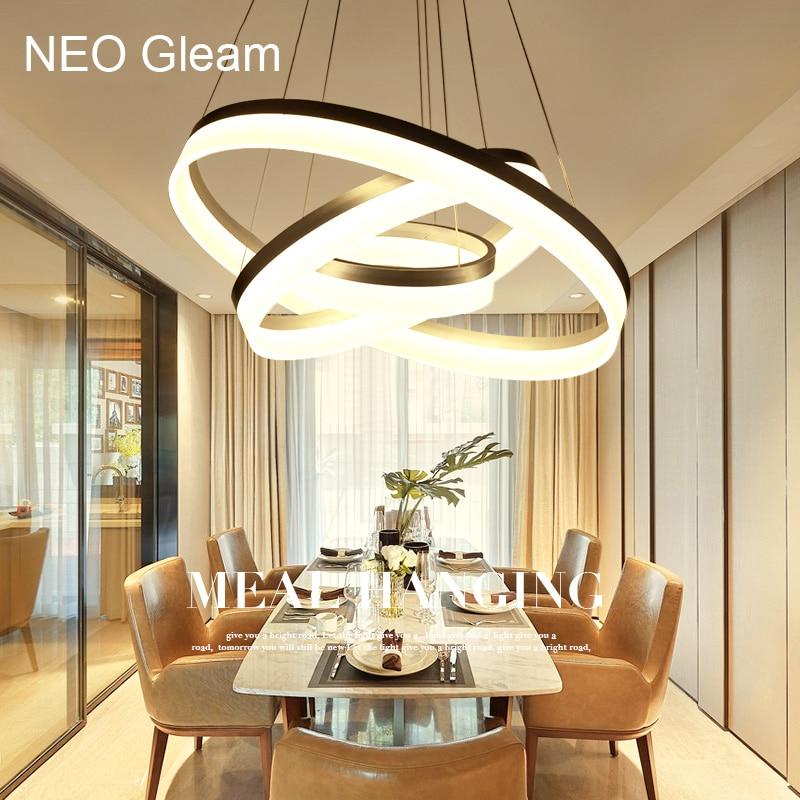 Lusso Moderno lampadario LED cerchio anello di luce lampadario per soggiorno Acrilico Lustre Lampadario di Illuminazione del nastro bianco di 85-265