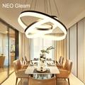 Luxury Modern chandelier LED circle ring chandelier light for living room Acrylic Lustre Chandelier Lighting white sliver 85-265