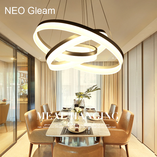 Luxury Modern Chandelier LED Circle Ring Chandelier Light For Living Room  Acrylic Lustre Chandelier Lighting White