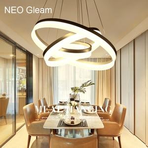 Image 1 - Luxus Moderne kronleuchter LED kreis ring kronleuchter licht für wohnzimmer Acryl Lustre Kronleuchter Beleuchtung weiß splitter 85 265