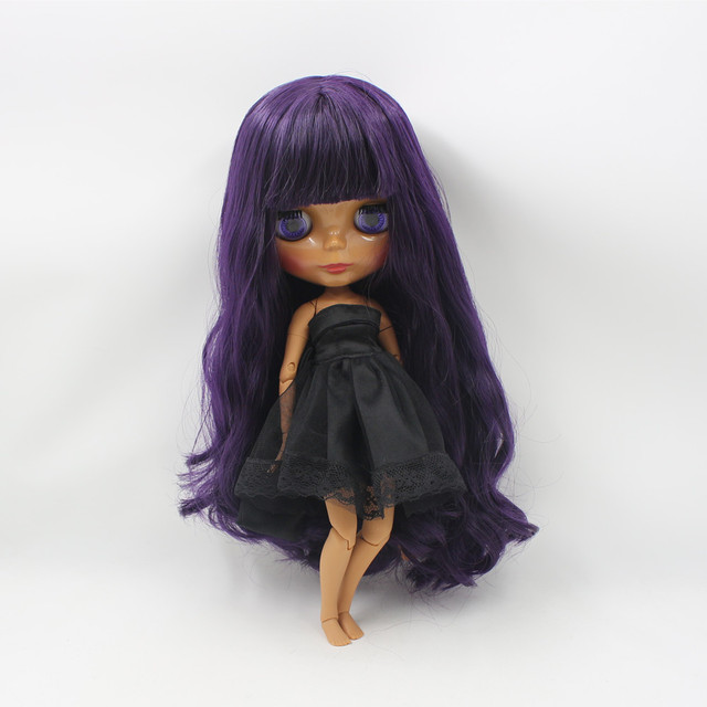 Factory Neo Blythe Doll Deep Purple Hair Jointed Body 30cm